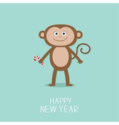 Cute monkey with candy cane New Year 2016 Baby vector image