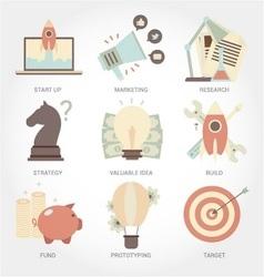 Entrepreneurship flat design icon set vector image