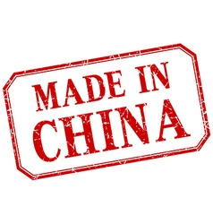China - made in red vintage isolated label vector