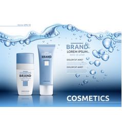 Aqua moisturizing cosmetic ads template hydrating vector