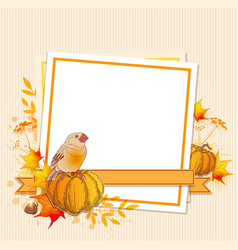 background with pumpkins and bird vector image vector image