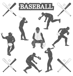 Baseball silhouettes on the white background vector