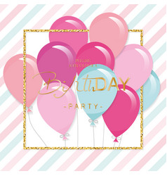 Birthday greeting card with colorful balloons and vector