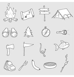 Camping doodles set vector