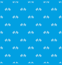 checkered racing flags pattern seamless blue vector image vector image