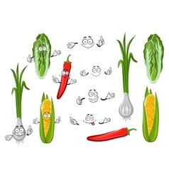 Chilli pepper corn onion and cabbage vector