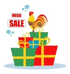 Christmas sale rooster vector image vector image