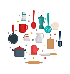 colorful kitchenware design vector image vector image