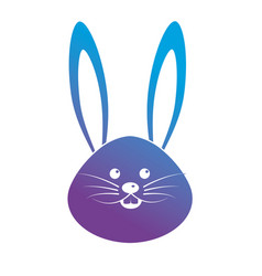 contour cute rabbit head animal vector image