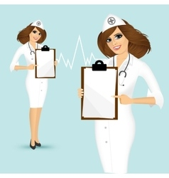 doctor showing clipboard vector image vector image
