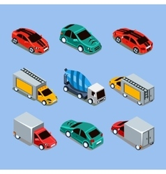 Flat 3d Isometric High Quality City Transport vector image vector image