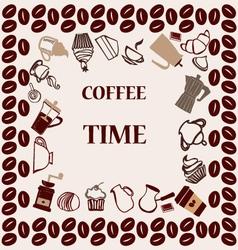Flat coffee tea set coffee time vector