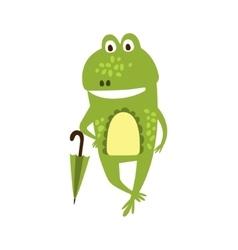 Frog With Umbrella Flat Cartoon Green Friendly vector image
