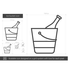 ice bucket line icon vector image vector image