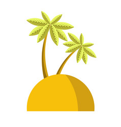 Island with palm icon isolated vector