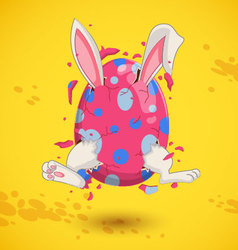 Little bunny in easter egg vector