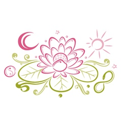 Lotus floral element yin yang vector image