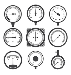 Manometers or pressure gauges and vacuum gauges vector