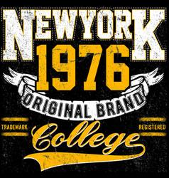 newyork typography vintage college brand logo vector image