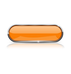 Orange oval button with chrome frame vector