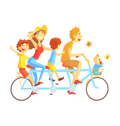 Parents and kids on triple seat bicycle riding vector