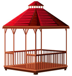 Pavillion with red roof vector