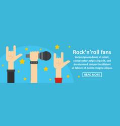 Rock n roll fans banner horizontal concept vector