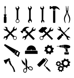 Set of black flat icons - tools technology work vector image vector image