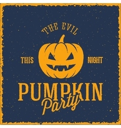 The Evil Pumpkin Halloween Party Card or a vector image