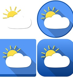 Weather sun behind cloud icon pack vector