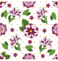 White seamless pattern with spring flowers cover vector