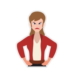 Face woman angry expression cartoon icon vector