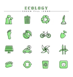 Ecology green fill icons set vector