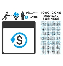Chargeback calendar page icon with 1000 medical vector