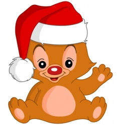 Christmas waving teddy bear vector