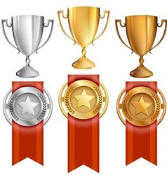 Set trophiesawardsribbons vector