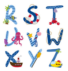 alphabet nautical from r to z vector image