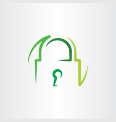 Green lock logo icon symbol vector
