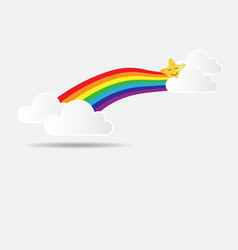 cute rainbow with star and cloud vector image