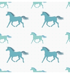 Seamless pattern with retro colored horses vector