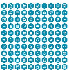100 family icons sapphirine violet vector