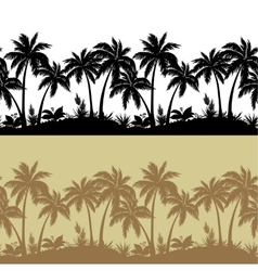Palms and flowers silhouettes seamless vector