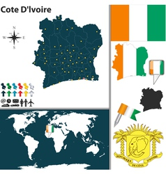 Cote dlvoire map world vector