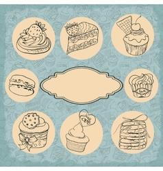 Set of vintage labels cakes vector