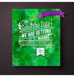 Pretty abstract green save the date template vector