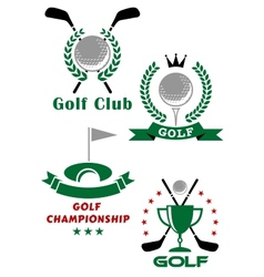 Golf game emblems with equipments and heraldic vector