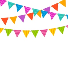 Set colorful buntings flags garlands vector