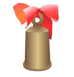 Hand bell with a bow vector