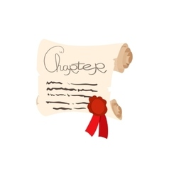Scroll of paper with a wax seal cartoon icon vector image