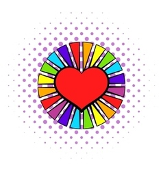Rainbow heart with color rays icon comics style vector